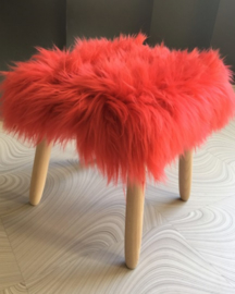 Coral Semi-Long Haired Sheepskin Stool