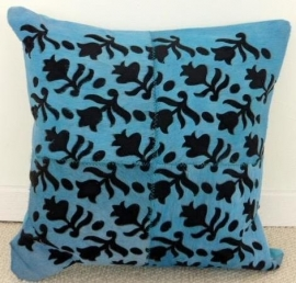 Laser Cut Turquoise Cowhide Cushion (3)