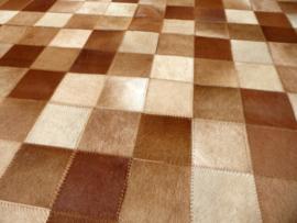 Bruin-Beige Koeienhuid Patchwork Tapijt, 160 x 230 cm