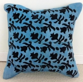 Laser Cut Turquoise Cowhide Cushion (4)