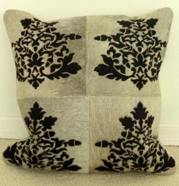 Laser Cut Grey Cowhide Cushion (4)
