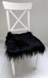 Chair Pad Icelandic Sheepskin, Black, Long wool