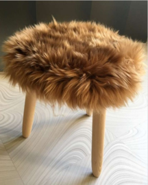 Camel Semi-Long Haired Sheepskin Stool