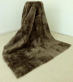 Mole Brown Shorn Sheepskin Plaid, 120 x 180 cm