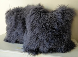Dark Grey Mongolian Sheepskin Cushion