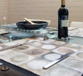 Grey Circles Cowhide Placemats