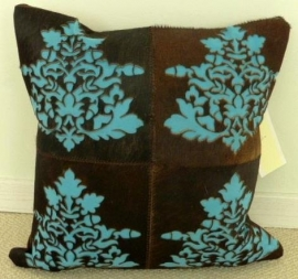 Laser Cut Brown-Turquoise Cowhide Cushion (1)