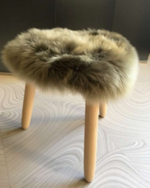 Olive Green Semi-Long Haired Sheepskin Stool