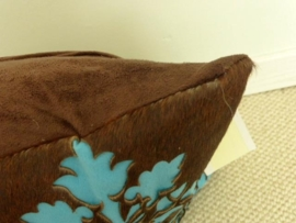 Laser Cut Brown-Turquoise Cowhide Cushion (2)