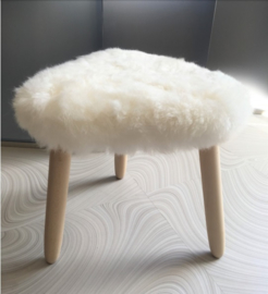 White Shorn Sheepskin Stool