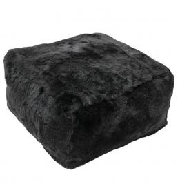 Donkerbruin-Zwarte Geschoren Schapenvacht Poef