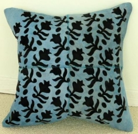 Laser Cut Turquoise Cowhide Cushion (1)
