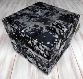 Koeienhuid Poef Zwart-Zilver