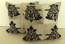 Laser Cut Grey Cowhide Cushion (1)