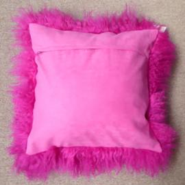 Fuchsia Mongolian Sheepskin Cushion