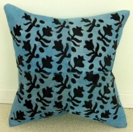 Laser Cut Turquoise Cowhide Cushion (2)
