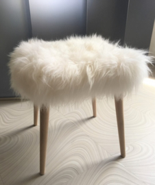 White Semi-Long Haired Sheepskin Stool