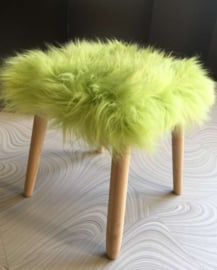 Apple Green Semi-Long Haired Sheepskin Stool