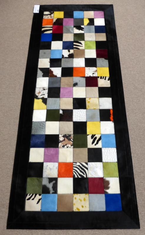 Multicolor Koeienhuid Patchwork Loper, 80 x 200 cm