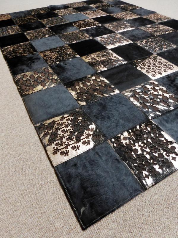 Bruin-Brons Patchwork Koeienhuid Tapijt, 140 x 200 cm