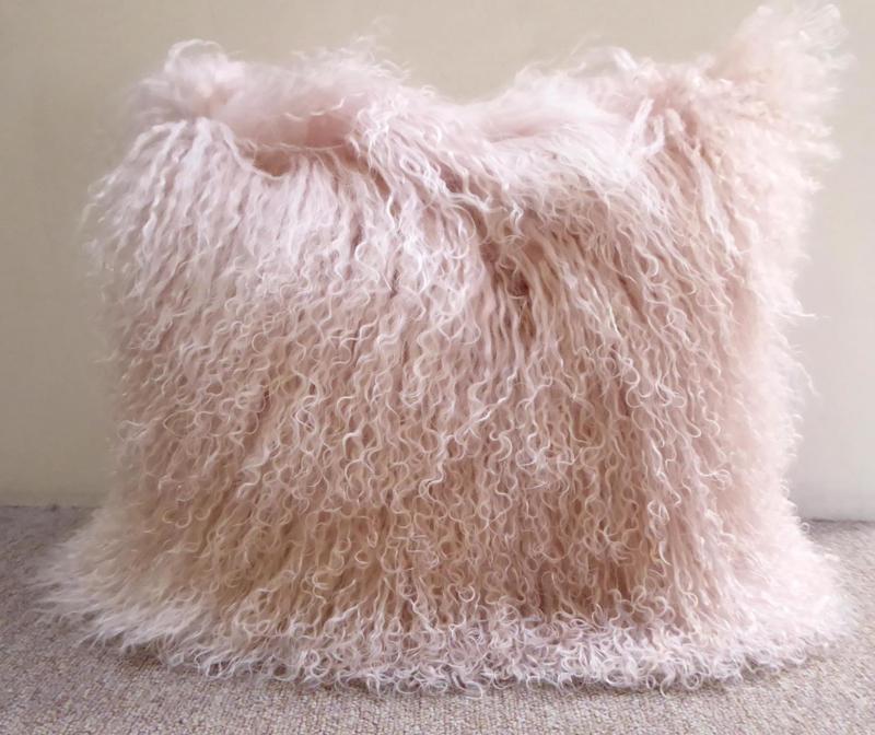 Pale Pink Mongolian Sheepskin Cushion