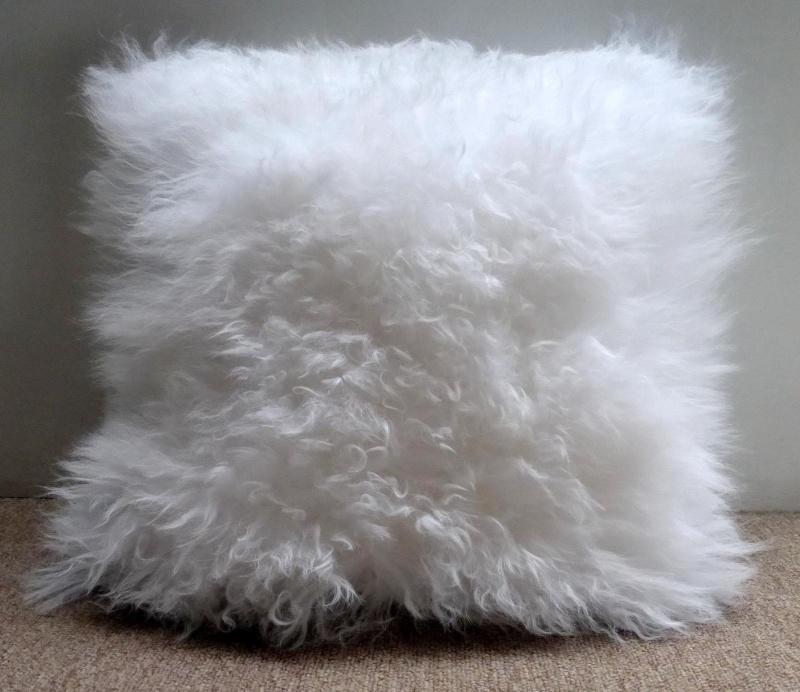 Bleeched White Mongolian Sheepskin Cushion