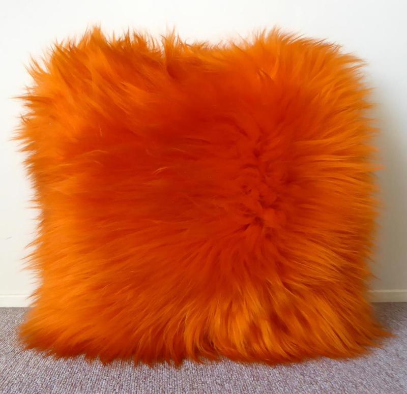 Oranje Schapenvacht Kussen