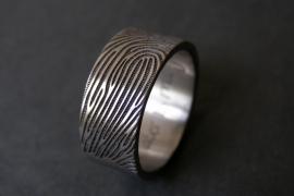 Titanium vingerafdruk ringen Extra lange vingerafdruk 180c