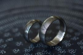 Vingerafdruk ringen 180c  Titanium