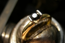 Kool Design ring 14K met zwarte diamant