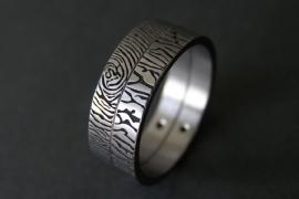 Titanium vingerafdruk ring duo