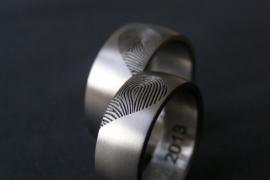 Titanium vingerafdruk ringen hartvorm - Bollend
