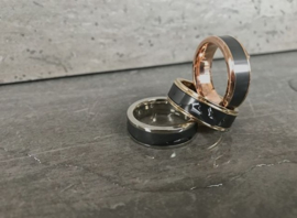POSEIDON - Black Diamond Ring - 18K Geelgoud - 8 mm breed