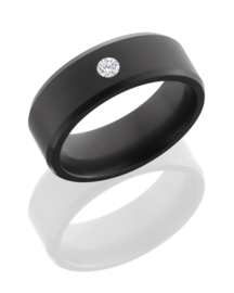 ARES Black Diamond Ring + Diamant Kleur /  8 mm breed