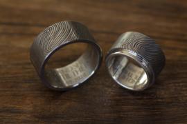Vingerafdruk ringen Titanium met 180c vingerafdruk