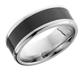 KRATOS - Black Diamond Ring - 18K Witgoud - 8 mm breed