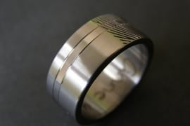 Titanium vingerafdruk ring met band