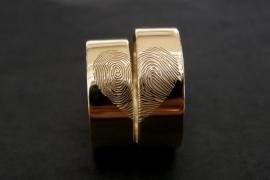 Geel gouden vingerafdruk ringen