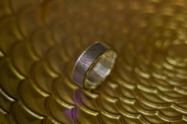 Vingerafdruk ring Titanium met zilveren binnenzijde