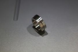 14K Witgouden Kool Design ring, met RVS band.