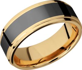 POSEIDON - Black Diamond Ring - 18K Geelgoud - 8 mm breed