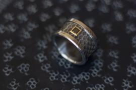 Titanium of zirkonium blanke ring met Zwarte Carré diamant en gouden zetting.