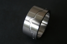Titanium profiel ring met Vingerafdruk