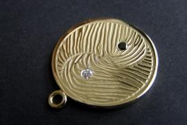 Geelgouden Yin Yang hanger met vingerafdruk