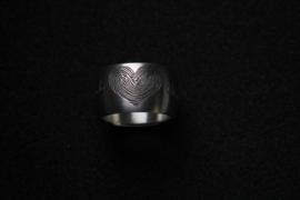 Vingerafdruk ring met vingerafdruk hart + Handgeschreven tekst