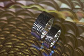 360c Vingerafdruk ringen met zilveren binnenzijde