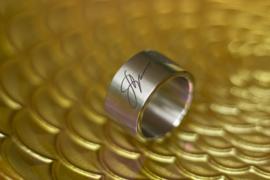 Titanium ring met Handtekening en vingerafdruk