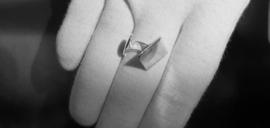 Zilveren Manchetknopen met vingerafdruk / Vierkant