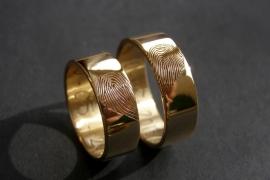 14K Geelgouden vingerafdruk ringen