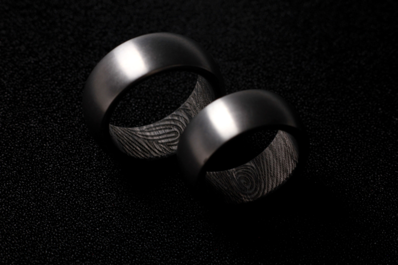 Carbon Fiber Ringen Vingerafdruk Ringen Kool Design